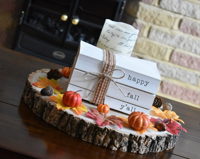 Happy fall y'all stamped book bundle, painted decorative books, autumn books for decor, fall stacked books, farmhouse book stack, home gifts