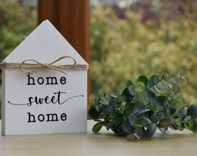 Wooden house shaped sign, mini wooden house, wooden house decor, tiered tray decor, rustic decor, farmhouse decor, shelf ornaments