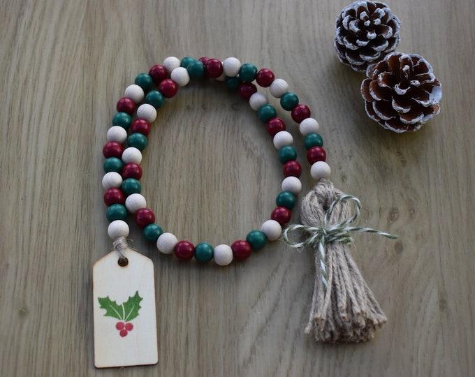 Festive farmhouse wooden bead garland, Christmas tiered tray decor, Christmas beads garland, Holiday coffee table decor, Rustic shelf decor
