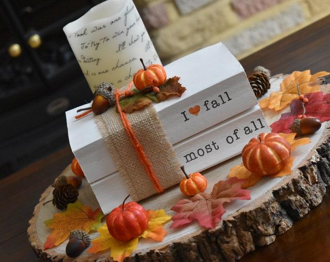 Autumn decor, Fall stamped books, Fall decor, Painted books, Pumpkin decor, Stacked book set, Rustic shelf decor, personalised books