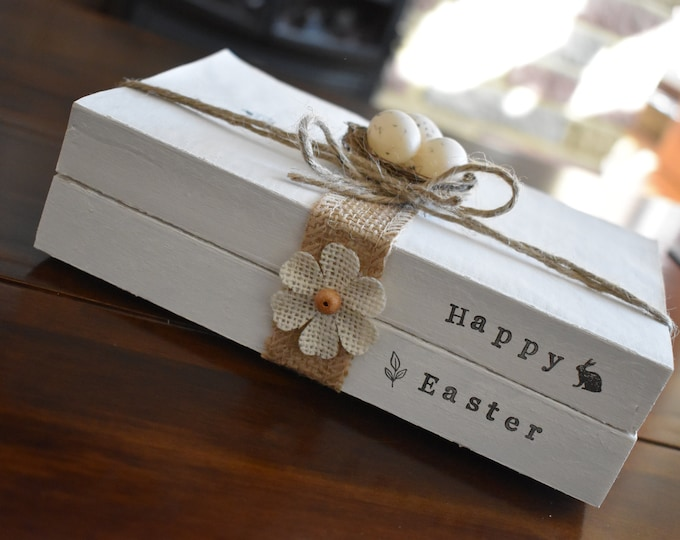 Happy Easter Stamped Books, Farmhouse Handmade Decor, Rustic Book Stack, Spring Decorative Sign, Mini Eggs Nest Decor, Personalised Gift