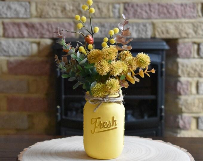 Autumn mason jar with artificial flowers and foliage, autumn decor, fall decor, farmhouse decor, rustic decor