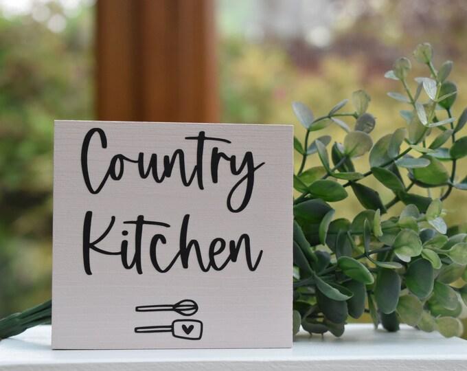 Country Kitchen mini farmhouse sign, rustic kitchen sign, painted wooden kitchen sign, kitchen tiered tray decor