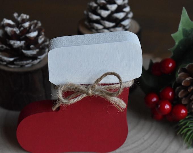 Christmas mini stocking, Christmas tiered tray decor, Farmhouse Christmas decor, Rustic festive decor, Shelf decor, Mantel decor gifts