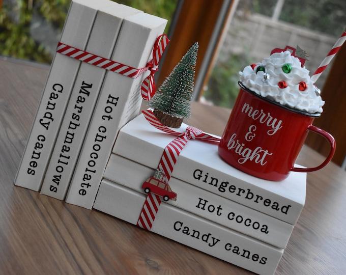 Christmas book stacks, Hot chocolate station decor, Farmhouse Christmas decor, Christmas tiered tray decor, Rustic festive shelf decor gifts