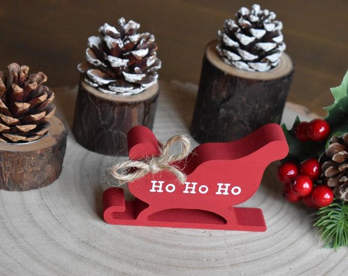 Mini wooden sleigh, Christmas tiered tray decor, Santa's sleigh, Farmhouse decor, Rustic painted sleigh, Ho Ho Ho sign, Christmas ornaments