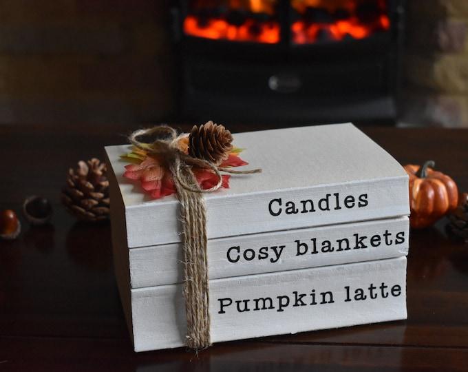 Autumn home decor, Autumn book stack, fall decorative books, Farmhouse stamped books, personalised stacked books, white books, fall ornament