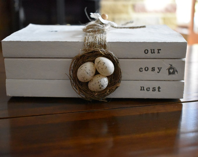 Our Cosy Nest, Stamped Decorative Book Stack, Farmhouse Home Decor, Rustic Painted Sign, Handmade Mini Eggs Nest, Personalised Family Gifts
