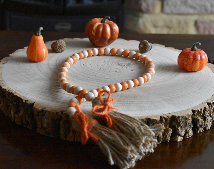 Autumn garland, fall wooden beaded garland, farmhouse autumn decor, rustic tiered tray decor