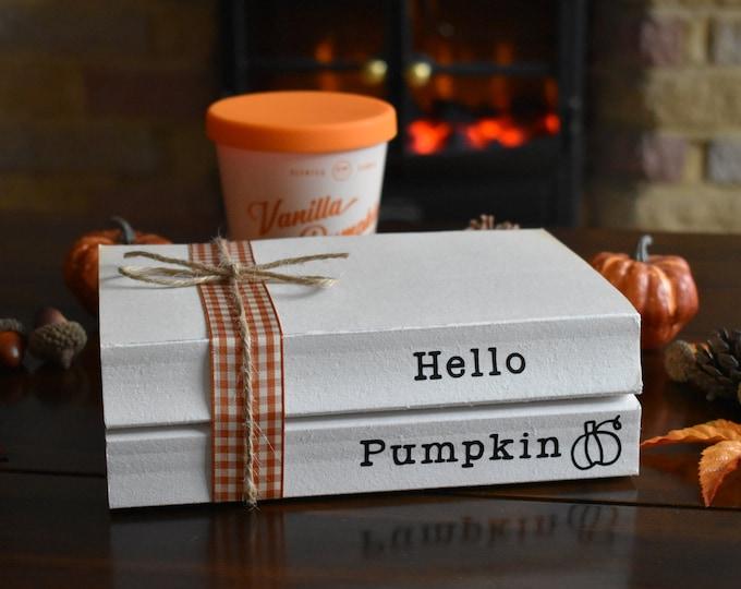 Hello Pumpkin book stack, Pumpkin decor, Autumn stamped books, Fall decor, Farmhouse books, Decorative books, shelf decor, mantel decor