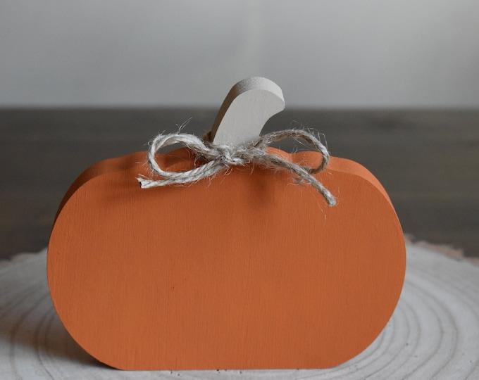Painted wooden pumpkin, Autumn tiered tray decor, Fall farmhouse decor, Pumpkin shelf ornament, Rustic pumpkin decor, Decorative pumpkin set