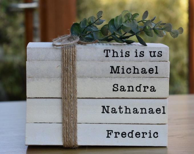Personalised book stack, books with names, farmhouse books, rustic shelf decor