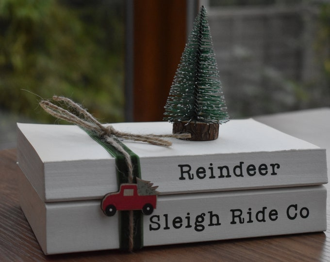Christmas book stacks, Farmhouse Christmas decor, Christmas tiered tray decor, Rustic stamped books, Personalised Christmas gift ideas