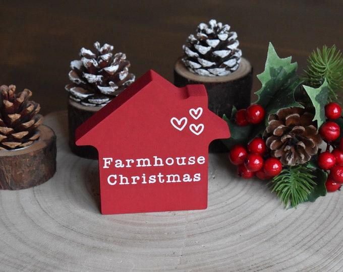 mini farmhouse Christmas sign, Christmas tiered tray decor, mini wooden festive house, rustic painted signs, Farmhouse Christmas decor gifts