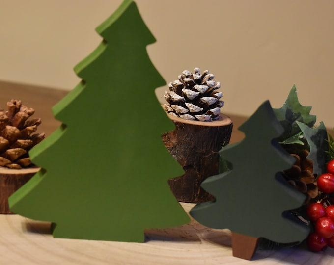 Painted Christmas trees, Wooden Christmas trees, Christmas tiered tray decor, Farmhouse Christmas decor, Festive shelf decor, Christmas tree