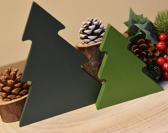 Wooden Christmas trees, Painted Christmas trees, Christmas tiered tray decor, Farmhouse Christmas decor, Festive shelf decor, Christmas tree