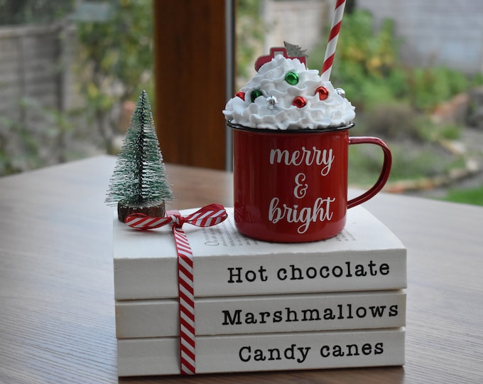 Christmas book stack, Hot chocolate station decor, Farmhouse kitchen decor, Christmas tiered tray decor, Festive shelf decor, Coffee table