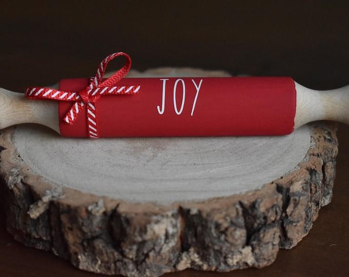 Christmas mini rolling pin, Christmas tiered tray decor, Farmhouse Christmas decor, rustic festive decor, Christmas kitchen decor gifts
