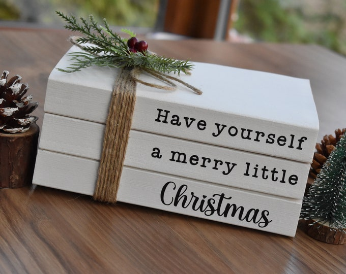 Christmas book stack, Have yourself a merry little Christmas, Christmas tiered tray decor, Farmhouse Christmas, Rustic shelf, Coffee table