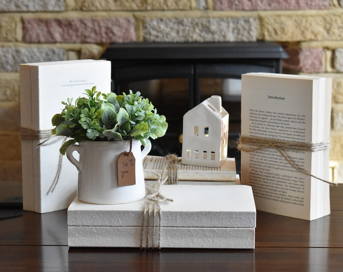Books for decor, decorative books, unbound books, bookshelf decor, coffee table books, farmhouse books, book stack, book set, white books