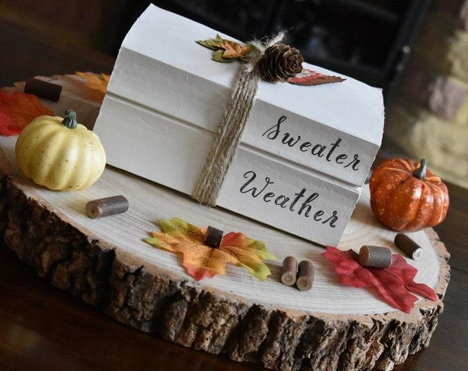 Sweater weather book stack, Autumn decor, Fall decor, Stamped books, Painted books, Farmhouse decorative books, Rustic home decor