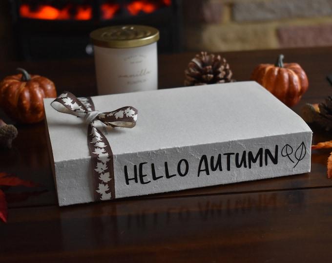 Hello Autumn book stack, Fall stamped books, Farmhouse autumn decor, Rustic fall decor, decorative books, shelf decor, coffee table decor