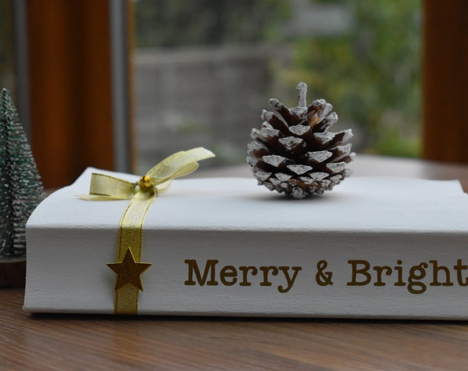 Christmas book stack, Merry and Bright, Gold Christmas decor, White decorative book, Christmas tiered tray decor, Festive shelf book gifts