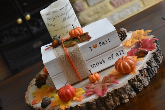 fall book stack decorative books decorative books stamped books Fall decor books with names fall tiered tray farmhouse decor