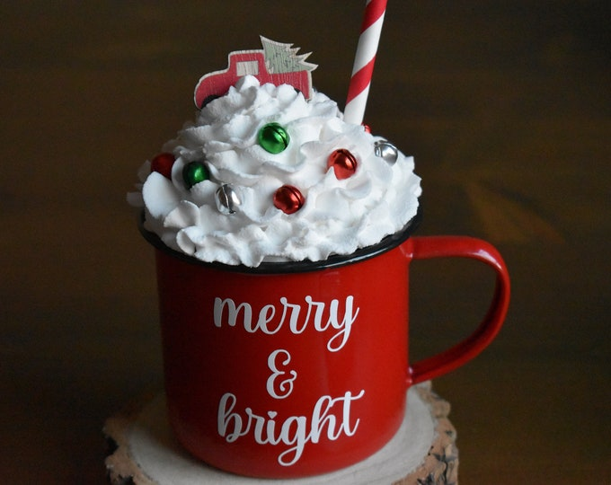 Christmas mug and topper, Faux whipped cream topper, Christmas tiered tray decor, Cocoa bar decor, Farmhouse Christmas decor, Christmas mugs