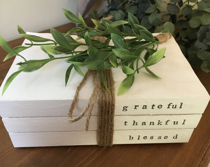 Grateful Thankful Blessed Stamped Decorative Book Stack Farmhouse Rustic Shabby Home Decor Personalised Gift
