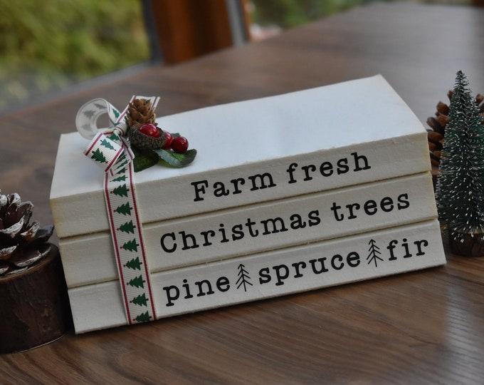 Christmas book stack, Farm fresh Christmas trees pine spruce fir, Rustic Christmas sign, Farmhouse Christmas decor, Personalised shelf books
