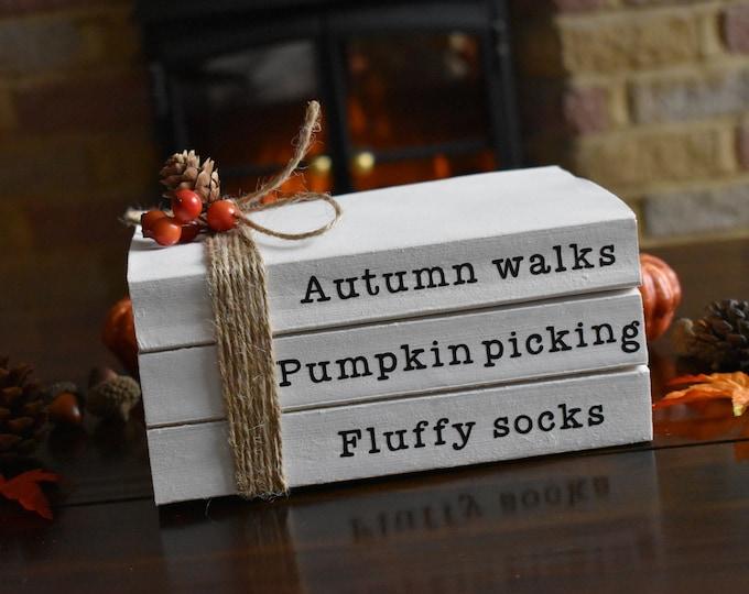 Pumpkin book stack, Autumn decor, Farmhouse fall decor, fall stacked books, white decorative books, stamped books, personalised book stack