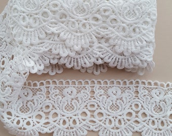"""White 4"""" Wide Embroidered Scalloped Lace Trim by the Yard 