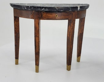 Solid Wood Shabby Chic Demi Lune Side Table at Ancient of Daze