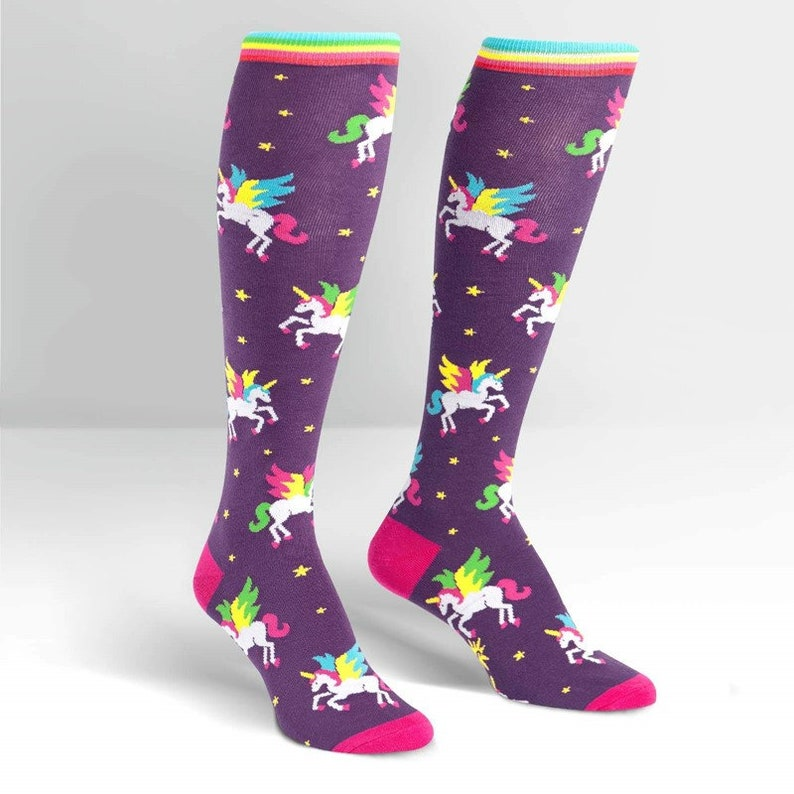 Women's Knee High Socks Flying Unicorns / Cool Socks / image 0