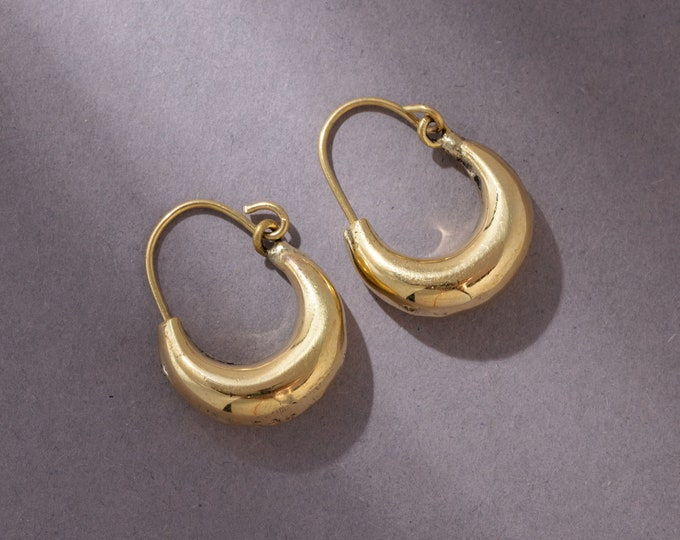 Featured listing image: Width small brass creoles, handmade 2 cm EB002