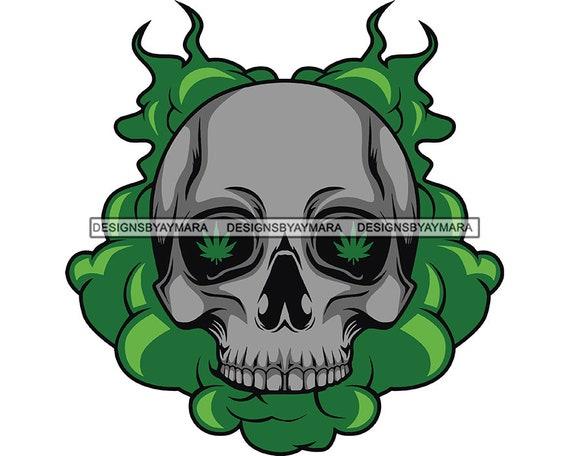 Skull Head Marijuana Smoking Blunt Pot Leaf Grass Blunt Joint Cannabis Medical Marijuana Mary Jane SVG PNG JPG Vector Clipart Cut Cutting
