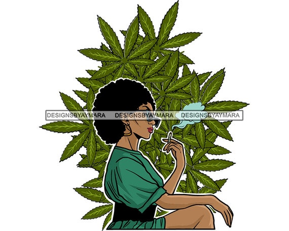 Woman Smoking Marijuana Weed Blunt Joint High Pleasure Cannabis Wellness Pot Stoned Smoking SVG JPG PNG Vector Clipart Circuit Cut Cutting