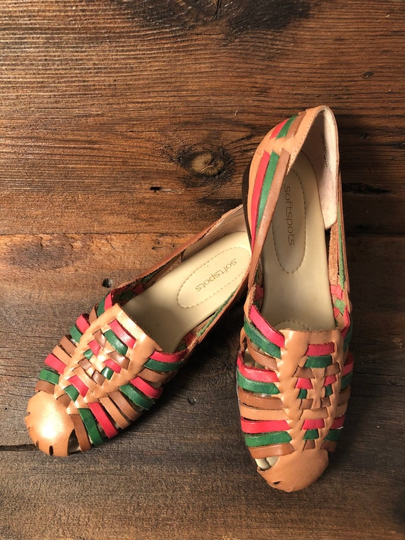Vtg Mexican Huarache Sandals- Pink, Green and Brow