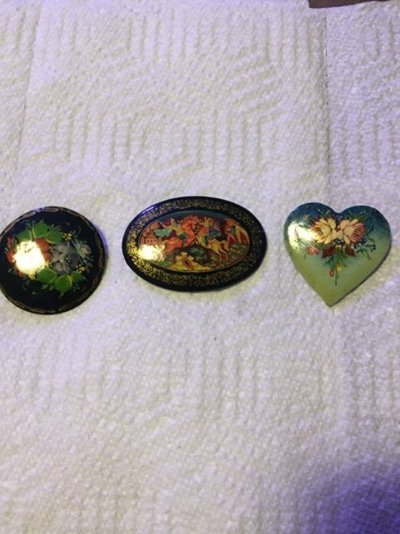 Set of 3 Russian Hand Painted Lacquer Brooch Pins