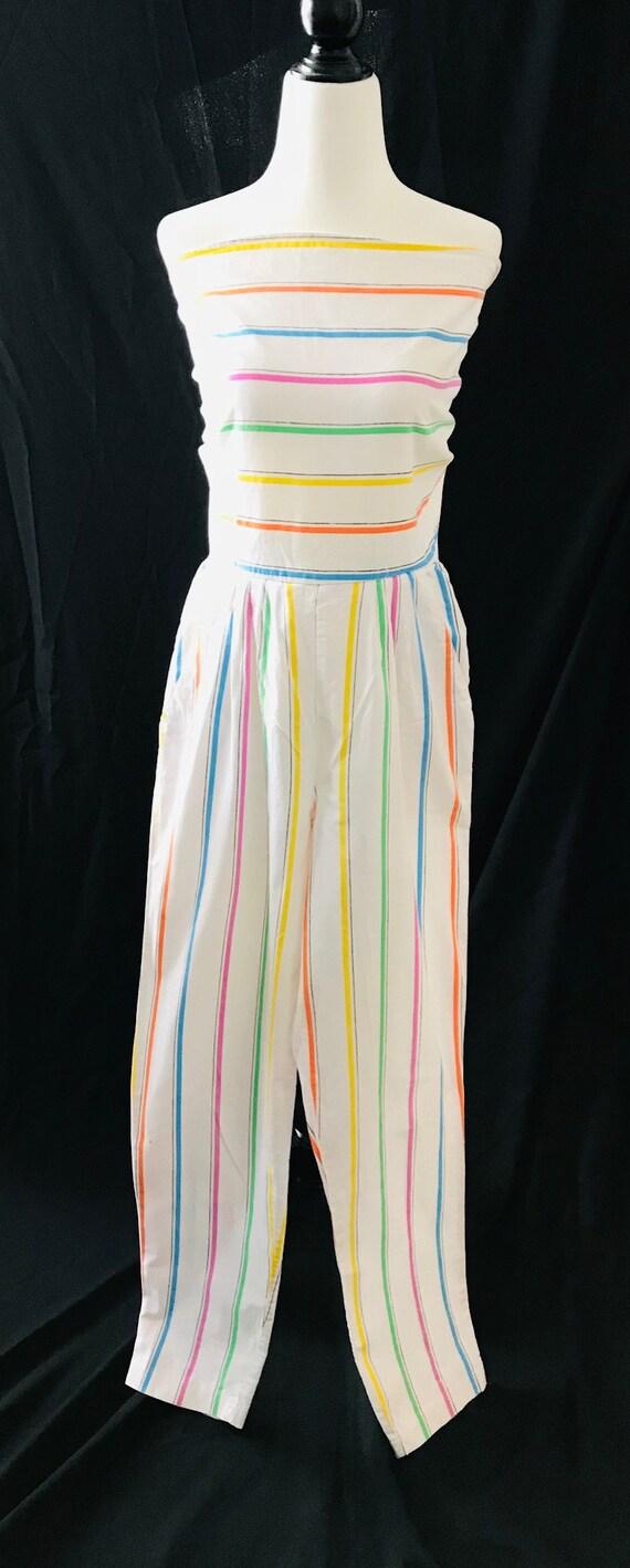 Vintage 1980s Rainbow Romper Jumpsuit