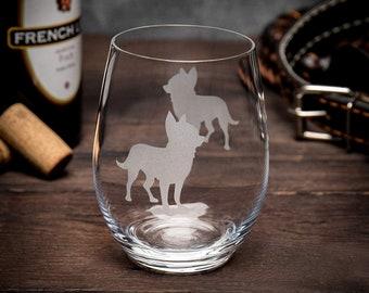 Chiweenie Dog Stemmed Stemless Wine Glass