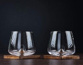 Whiskey Glasses - Uniquely Designed Bourbon & Scotch Tasting Glasses Set of 2