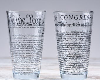 United States Constitution & Declaration of Independence Glasses (Set of 2)   16 oz Drinking Glasses