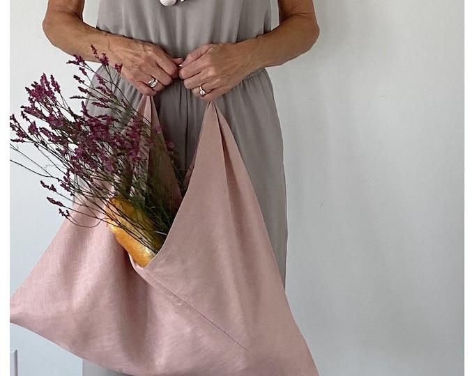 Featured listing image: Linen Tote Bag | Pink Tote Bag | Bag | Grocery Bag  | Market Bag | Beach Bag | Computer Bag | Handmade Bag | Handmade Gift | Unique Gift