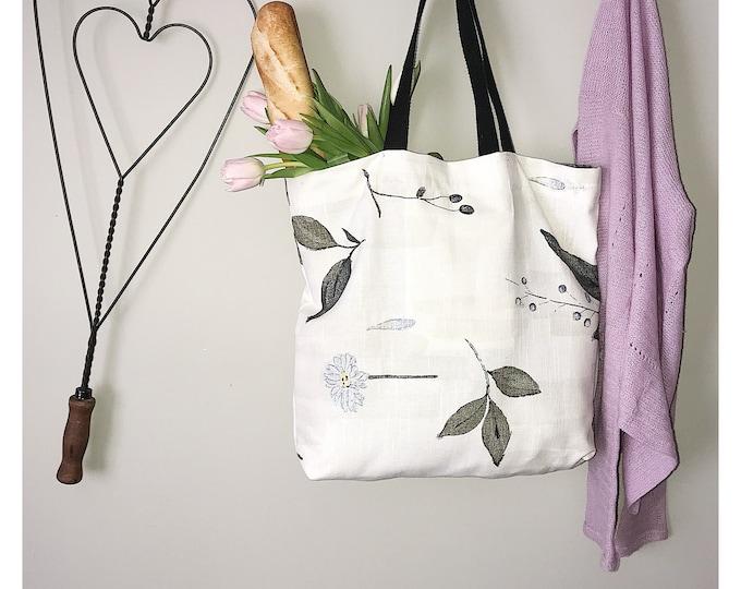 Featured listing image: White Tote Bag | Tote Bag | Bag | Grocery Bag  | Market Bag | Beach Bag | Computer Bag | Handmade Bag | Handmade Gift | Unique Gift