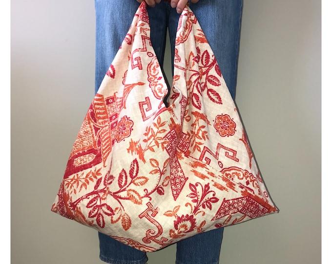 Featured listing image: Linen Tote Bag | Tote Bag | Orange Bag | Grocery Bag  | Market Bag | Beach Bag | Computer Bag | Handmade Bag | Handmade Gift | Unique Gift