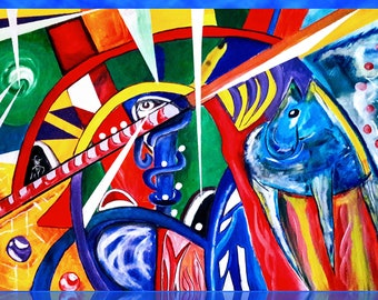 Picture mural with blue horse, abstract, acrylic on canvas, original, 120 by 80 cm