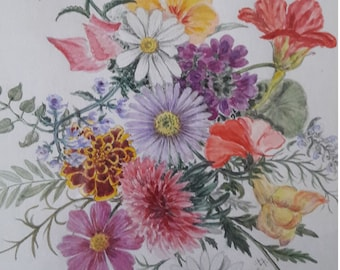 Watercolours Original with flower motifs | Mary Evelyn Wolters-Godderidge | 30 by 40 cm | framed, behind glass | 1960 to 2015