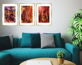 """Three Paintings""""Stardust"""", Frank Xaver Originals, Acrylic on Canvas, Framed, Behind Glass"""